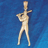 Baseball Player Charm Bracelet or Pendant Necklace in Yellow, White or Rose Gold DZ-3324 by Dazzlers