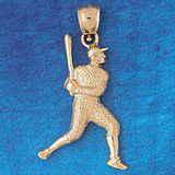 Baseball Player Charm Bracelet or Pendant Necklace in Yellow, White or Rose Gold DZ-3327 by Dazzlers