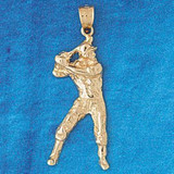 Baseball Player Charm Bracelet or Pendant Necklace in Yellow, White or Rose Gold DZ-3328 by Dazzlers