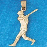 Baseball Player Charm Bracelet or Pendant Necklace in Yellow, White or Rose Gold DZ-3329 by Dazzlers