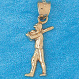 Baseball Player Charm Bracelet or Pendant Necklace in Yellow, White or Rose Gold DZ-3332 by Dazzlers