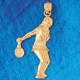 Tennis Player Charm Bracelet or Pendant Necklace in Yellow, White or Rose Gold DZ-3284 by Dazzlers