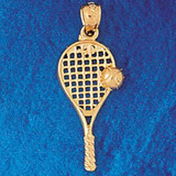 Tennis Racket Charm Bracelet or Pendant Necklace in Yellow, White or Rose Gold DZ-3295 by Dazzlers