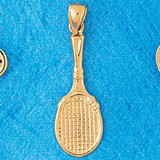 Tennis Racket Charm Bracelet or Pendant Necklace in Yellow, White or Rose Gold DZ-3298 by Dazzlers