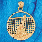 Tennis Racket Charm Bracelet or Pendant Necklace in Yellow, White or Rose Gold DZ-3301 by Dazzlers