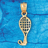 Tennis Racket Charm Bracelet or Pendant Necklace in Yellow, White or Rose Gold DZ-3312 by Dazzlers