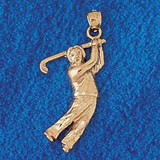 Golfer Charm Bracelet or Pendant Necklace in Yellow, White or Rose Gold DZ-3405 by Dazzlers