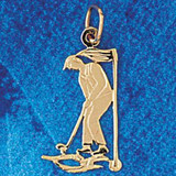 Golfer Charm Bracelet or Pendant Necklace in Yellow, White or Rose Gold DZ-3411 by Dazzlers
