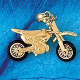 Motorcycle Charm Bracelet or Pendant Necklace in Yellow, White or Rose Gold DZ-3637 by Dazzlers
