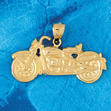 Motorcycle Charm Bracelet or Pendant Necklace in Yellow, White or Rose Gold DZ-3638 by Dazzlers