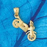 Motorcycle Charm Bracelet or Pendant Necklace in Yellow, White or Rose Gold DZ-3640 by Dazzlers