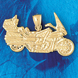 Motorcycle Charm Bracelet or Pendant Necklace in Yellow, White or Rose Gold DZ-3643 by Dazzlers