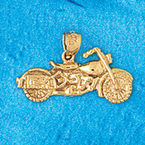 Motorcycle Charm Bracelet or Pendant Necklace in Yellow, White or Rose Gold DZ-3645 by Dazzlers