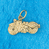 Motorcycle Charm Bracelet or Pendant Necklace in Yellow, White or Rose Gold DZ-3646 by Dazzlers