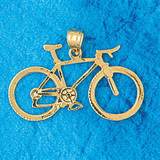Biker Bicycle Charm Bracelet or Pendant Necklace in Yellow, White or Rose Gold DZ-3649 by Dazzlers