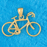 Biker Bicycle Charm Bracelet or Pendant Necklace in Yellow, White or Rose Gold DZ-3650 by Dazzlers