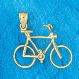 Biker Bicycle Charm Bracelet or Pendant Necklace in Yellow, White or Rose Gold DZ-3653 by Dazzlers