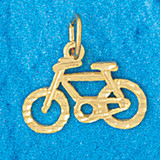 Biker Bicycle Charm Bracelet or Pendant Necklace in Yellow, White or Rose Gold DZ-3658 by Dazzlers