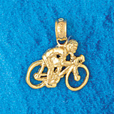Biker Bicycle Charm Bracelet or Pendant Necklace in Yellow, White or Rose Gold DZ-3659 by Dazzlers