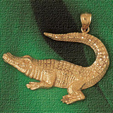 Alligator Crocodile Charm Bracelet or Pendant Necklace in Yellow, White or Rose Gold DZ-1631 by Dazzlers
