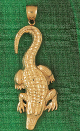 Alligator Crocodile Charm Bracelet or Pendant Necklace in Yellow, White or Rose Gold DZ-1635 by Dazzlers