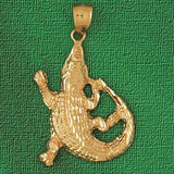 Alligator Crocodile Charm Bracelet or Pendant Necklace in Yellow, White or Rose Gold DZ-1636 by Dazzlers