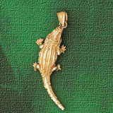 Alligator Crocodile Charm Bracelet or Pendant Necklace in Yellow, White or Rose Gold DZ-1637 by Dazzlers