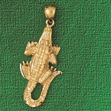 Alligator Crocodile Charm Bracelet or Pendant Necklace in Yellow, White or Rose Gold DZ-1638 by Dazzlers