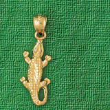 Alligator Crocodile Charm Bracelet or Pendant Necklace in Yellow, White or Rose Gold DZ-1639 by Dazzlers