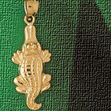 Alligator Crocodile Charm Bracelet or Pendant Necklace in Yellow, White or Rose Gold DZ-1640 by Dazzlers