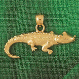 Alligator Crocodile Charm Bracelet or Pendant Necklace in Yellow, White or Rose Gold DZ-1643 by Dazzlers