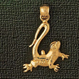 Lizard Charm Bracelet or Pendant Necklace in Yellow, White or Rose Gold DZ-1649 by Dazzlers