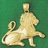 Lion Charm Bracelet or Pendant Necklace in Yellow, White or Rose Gold DZ-1688 by Dazzlers