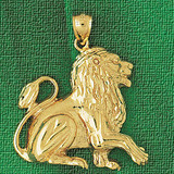 Lion Charm Bracelet or Pendant Necklace in Yellow, White or Rose Gold DZ-1690 by Dazzlers