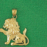 Lion Charm Bracelet or Pendant Necklace in Yellow, White or Rose Gold DZ-1691 by Dazzlers