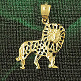 Lion Charm Bracelet or Pendant Necklace in Yellow, White or Rose Gold DZ-1703 by Dazzlers