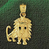 Lion Charm Bracelet or Pendant Necklace in Yellow, White or Rose Gold DZ-1704 by Dazzlers