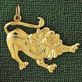 Lion Charm Bracelet or Pendant Necklace in Yellow, White or Rose Gold DZ-1705 by Dazzlers