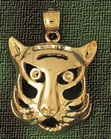 Tiger Head Charm Bracelet or Pendant Necklace in Yellow, White or Rose Gold DZ-1709 by Dazzlers