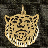 Tiger Head Charm Bracelet or Pendant Necklace in Yellow, White or Rose Gold DZ-1713 by Dazzlers