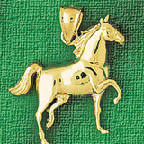 Racing Horse Charm Bracelet or Pendant Necklace in Yellow, White or Rose Gold DZ-1749 by Dazzlers