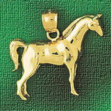 Racing Horse Charm Bracelet or Pendant Necklace in Yellow, White or Rose Gold DZ-1750 by Dazzlers