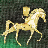 Racing Horse Charm Bracelet or Pendant Necklace in Yellow, White or Rose Gold DZ-1751 by Dazzlers