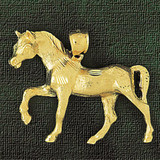 Farm Horse Charm Bracelet or Pendant Necklace in Yellow, White or Rose Gold DZ-1752 by Dazzlers