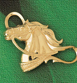 Horse Head Charm Bracelet or Pendant Necklace in Yellow, White or Rose Gold DZ-1755 by Dazzlers