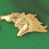 Horse Head Charm Bracelet or Pendant Necklace in Yellow, White or Rose Gold DZ-1756 by Dazzlers