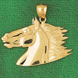 Horse Head Charm Bracelet or Pendant Necklace in Yellow, White or Rose Gold DZ-1758 by Dazzlers