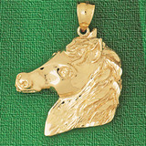Horse Head Charm Bracelet or Pendant Necklace in Yellow, White or Rose Gold DZ-1759 by Dazzlers