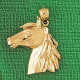 Horse Head Charm Bracelet or Pendant Necklace in Yellow, White or Rose Gold DZ-1760 by Dazzlers