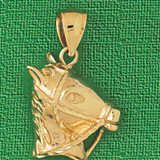 Horse Head Charm Bracelet or Pendant Necklace in Yellow, White or Rose Gold DZ-1761 by Dazzlers
